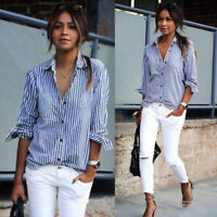 Fashion Women Ladies Casual V Neck Long Sleeve Striped Loose Shirt Blouse Tops