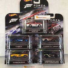 5 Car Set * 2017 FORZA Motorsport w/ REAL RIDERS * 2017 Hot Wheels Retro