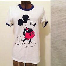Vtg Disney Mickey Mouse Ringer Tee Paper Thin worn in distressed small M 80s