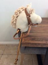 Vintage Wooden Hobby Horse Genuine Wood With Rolling Wheels New Classic Toys
