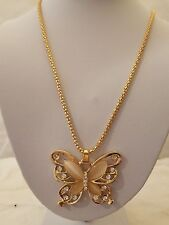 Gold Mesh 26 Inch Necklace With Pink Stone And Crystal Butterfly Pendant