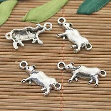 50pcs dark silver tone cattle charms h3134