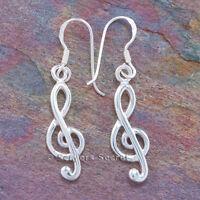 TREBLE CLEF Earrings Music Note MUSICAL Hook dangle .925 sterling silver 925