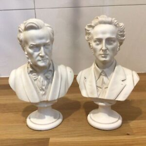 Vintage Pair of White Busts of Wagner and Chopin Height approx. 22.5/23 cm #460