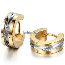 Stainless Steel Polished Shiny  Men's European Stylish Hinged Hoop Earrings 2pcs