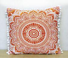 "24X24"" Square Orange Mandala Cushion Pillow Covers Indian Sofa Decorative Throw"