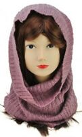 Ladies Scarf Knitted Collar Cowl Snood Tube Hood Neck Warmer Soft Purple unisex