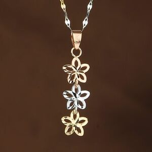 Real 18K Rose & White & Yellow Gold Pendant  Three Lucky Flower Link Pendant