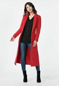 Just Fabulous Long Coat Tie Belt Pockets RED Unlined Size XL (12-14) NEW RRP £77