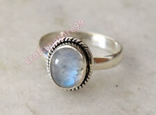 925 Fine Sterling Silver Rainbow Moonstone Ring Stone Ring All Size 7 8 9 R19MN