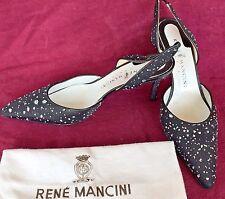 Rene Mancini Black Embellished Slingback Pumps Size 40 1/2