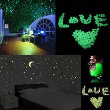 200pcs Glow In The Dark 3D Stars Moon Stickers Bedroom Home Wall Room Decor DIY