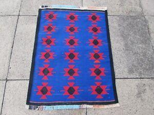 Vintage Traditional Hand Made Oriental Cotton Blue Small Kilim 87x65cm