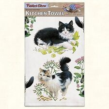 "Kitchen Towel--Black & White Cats--Printed in the USA--22"" by 32""--100% Cotton"