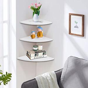 Set Of 3 White Floating Corner Shelf Wall Shelves Storage Display Bookcase UK