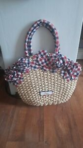 Lovely 50's Style Straw Weave & Gingham Bag By Lalù