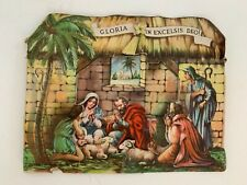 vintage die cut fold out nativity scene Christmas card Gloria in Excelsis Deo!