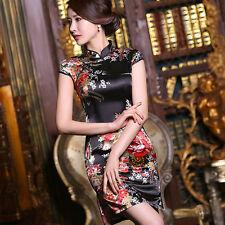 Silk cheongsam dress 2018 new chinese retro short fashion Slim Black safflower