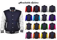 Men's Varsity Jacket Wool + Real Leather Long Sleeves Baseball Letterman Jacket