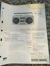 Original Sony CFS-66 Service Manual FM/AM Stereo Cassette-Corder w/schematics