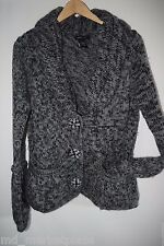 BCBG Max Azria Black & Grey Shawl Sweater Knit Coat Jacket Bead Button Pockets L