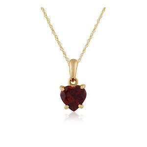 Gemondo 9ct Yellow Gold 0.89ct Claw Set Garnet Heart Pendant on 45cm Chain