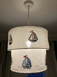 Stunning Children's Ceiling Sailing Boats Drum / Pendant / Two Tier Lightshade