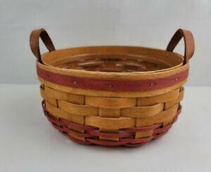 Vintage Longaberger Small Round Darning Basket With Liner Leather Handles 1995