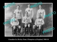 OLD LARGE HISTORIC PHOTO OF THE CANADIAN MENS ICE HOCKEY TEAM CHAMPIONS 1909