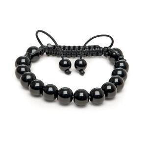 Shamballa Gemstone Bracelet Fathers Day Black Onyx beads Made UK made