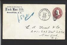 BENNETTSVILLE, SOUTH CAROLINA, 1907 COVER TO NEW YORK STATE, MARLBORO CO 1826/OP