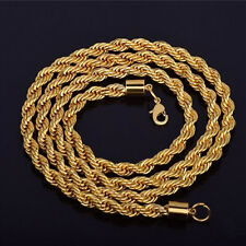 "16-30"" 4MM Jewelry 18K Yellow Gold GF Chain Screw Water Wave Necklace Pendant"