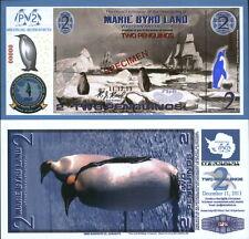 NEW POLYMER 11.12.13 MARIE BYRD LAND 2 PENGUINO SPECIMEN FANTASY ART BANKNOTE!