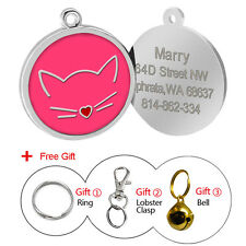 30mm Personalized Pet Cat Face Identity ID Tag Disc Cat Collar Tag Engraved Gift