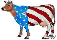 KUH mit KUNSTBEMALUNG USA FLAGGE lebensgroß Deko Garten Tier Figur FAHNE AMERIKA