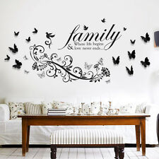 Family Decal Art Decoration Small Butterfly Vine FREE 3D Butterfly Wall Sticker