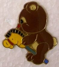 Hat Lapel Pin Scarf Clasp Animal Teddy Bear with hobby horse NEW