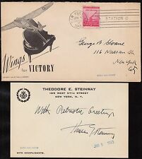 SCARCE PATRIOTIC COVER WITH STEINWAY AUTOGRAPH NEW YORK CITY 1943 HV6985