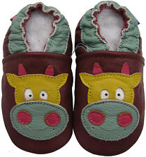 carozoo cow brown 6-12m C1 soft sole leather baby shoes