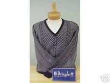 New NWT Mens Pringle L V-Neck Black Grey Sweater Retails For $90.00