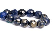 4MM Natural Dark Blue Pyrite Beads Grade AAA Faceted Round Loose Beads 7.5""
