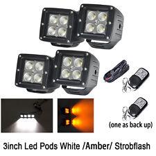 4X 3 inch LED Work Light Square Flood Cube Pods Fog Offroad White/Amber/Strobe