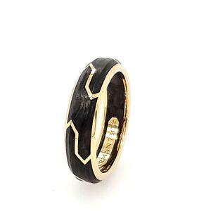 18K David Yurman Forged Carbon Ring Yellow Gold 6mm
