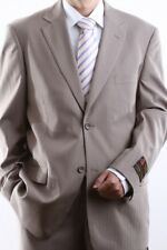 MENS TWO BUTTON TAN TONAL STRIPE DRESS SUIT SIZE 38R, PL-65712N-TAN