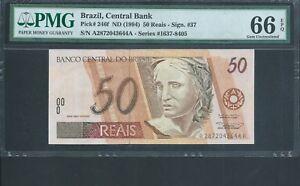 BRAZIL 50 Reais P246f ND(1994) PMG 66 EPQ Gem Unc Fantastic grade! TOP POP!