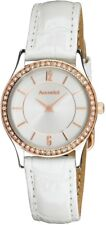 Accurist LS648 Ladies White Leather Strap Crystal Set Bezel 2Yr Guar RRP £79.99