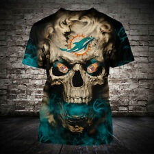 Miami Dolphins Football Short Sleeve T-Shirt Summer Casual Tee Tops Fans Gifts