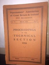Papermakers Association Of Great Britain And Ireland 1926 Pamphlet