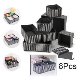 8x Foldable Storage Underwear Sock Bra Tie Draw Divider Organiser Container Box