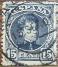 SELLO ALFONSO XIII 1901 15c. AZUL NEGRUZCO  USADO EDIFIL 244